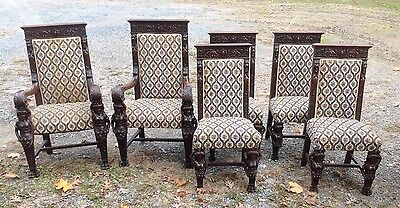 Set Of 6 A.j. Johnson Carved Oak Figural Dining Chairs