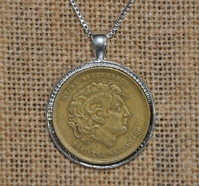 Alexander The Great Authentic Greek Coin Pendant Charm 925 Silver Necklace