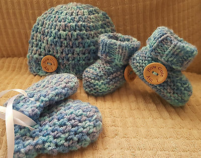 Unisex Babys Hand Knit Hat,boots /booties & Mitts-'how Cute Am I' Nb, 0-3-3-6