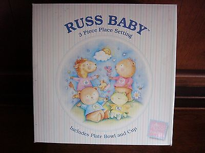 Russ Baby 3 Piece Place Setting Childrens Sippi-Cup, Bowl, Plate, Non-toxic Plas