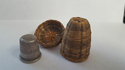Vintage Sweet Grass Thimble Basket Holder with Sterling Silver Thimble