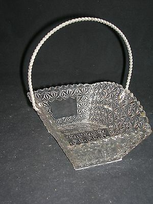 Eapg Victorian Novelty Glass Handled Basket - Finecut Pattern - Circa 1890
