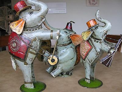 """Vintage Tin Metal Set of 3 Hand Painted India Elephant Band 13-17"""" high UNIQUE"""