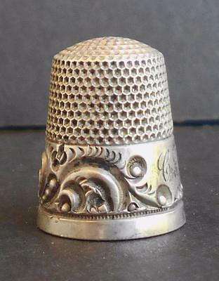 Antique KETCHAM & MCDOUGALL Scroll Beads STERLING SILVER Sewing THIMBLE Size 9