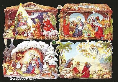 German Vintage Style Embossed Scrap Die Cut- Christmas Nativity Scene  EF7202