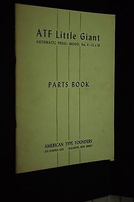 Vintage 1942 American Type Founders Little Giant Press Model 4 Parts Book