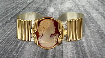 Vintage Cameo Bracelet - Shell  Carved In Italy -   Sterling Silver  Size 7
