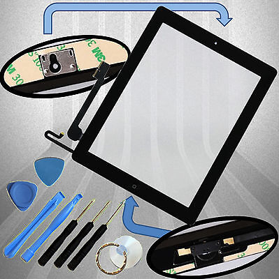 Apple iPad 4 Digitizer schwarz Display Glas Touchscreen + Homebutton + Klebepads