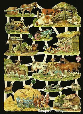 German Embossed Vintage Style Scrap Die Cut Relief - Farm Animals EF7358