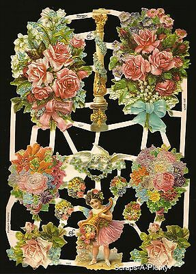 German Victorian Style Embossed Scrap Die Cut Relief - Flowers & Fairy  EF7227