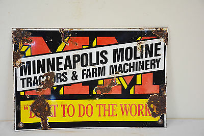 "Vintage MINNEAPOLIS-MOLINE Tractor Farm Machinery Old 12"" Porcelain Sign Barn"