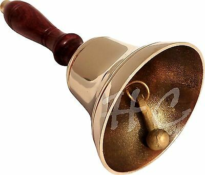 Vintage Antique Brass Wood Teachers Desk Bell School Reception Dinner Hand Bell