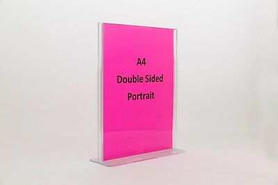 A4 Double Sided Menu and Sign Holder - T-Shape Clear Plastic Acrylic SHTA4