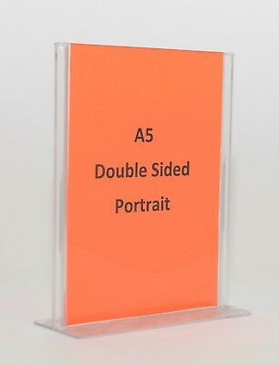 A5 Double Sided Sign Holder Clear Plastic Acrylic SHTA5