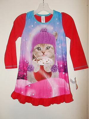 Girls Size 6/6X, 7/8, 10/12, OR 14/16 Kitten With Cocoa Red Flannel Nightgown