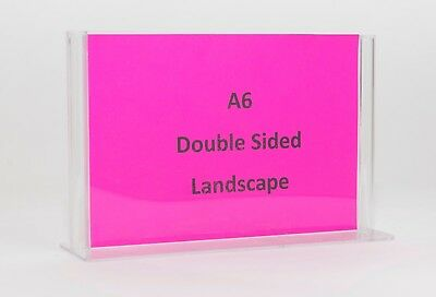 A6 Double Sided Landscape Clear Plastic Sign Holder - T-Shape SHTA6