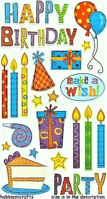 Ek Success Sticko Stickers - Balloons Candles Hats Gifts Stars - Birthday Party