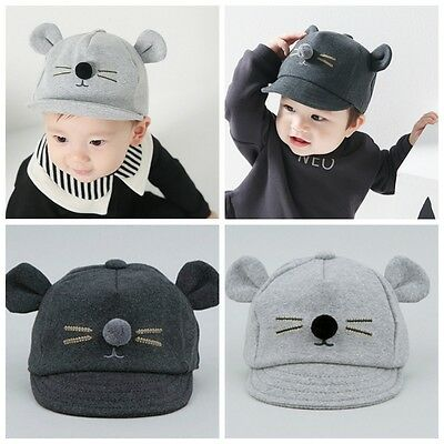 Newborn Toddler Kids Baby Girl Boy Visor Baseball Cat Little Ear Cap Warm Hat