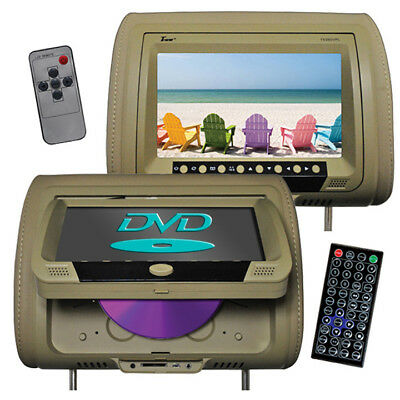 """TVIEW T939DVPLTAN  Tview 9"""" Headrest Monitor with DVD Player Sold in Pairs Tan"""