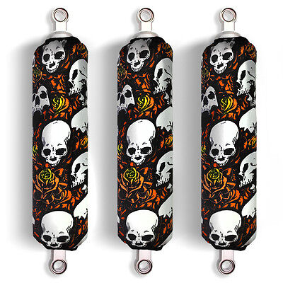 Orange Skull Shock Covers Yamaha Blaster YFS Raptor YFM 250 350 660 700R (Set 3)