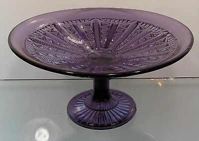 c1900 DEEP PURPLE-AMETHYST FANCY PRESSED GLASS FOOTED COMPOTE
