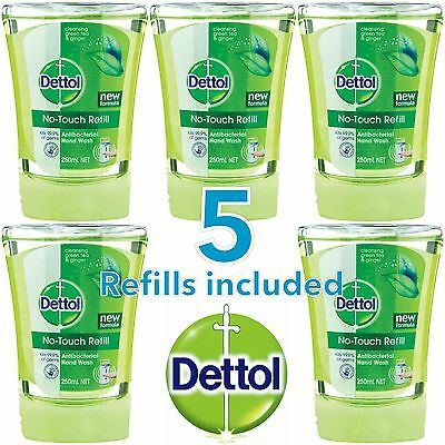 5 x DETTOL NO TOUCH HAND WASH REFILLS - CLEANSING GREEN TEA AND GINGER - NEW