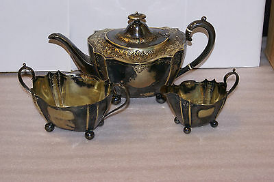Antique L & CO Silverplate Tea Set Teapot Cream and Sugar Ornate Engraved