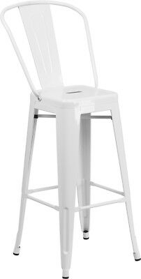 30 High White Metal Indoor Outdoor Counter Height Stool