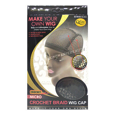 Qfitt Make Your Own Wig Micro Crochet Braid Caps Diamond Shape Net #5032 Black
