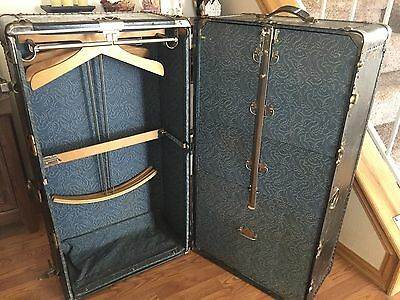 Gibraltarized Hartmann Wardrobe Steamer Trunk Blue Floral Inlay Keys Sec Lock