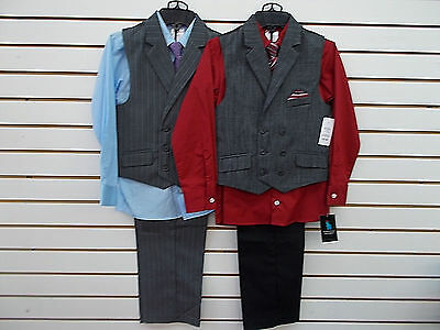 Boys Young Kings By Steve Harvey $65 4pc Double-Breasted Vest Suits Size 4 - 14