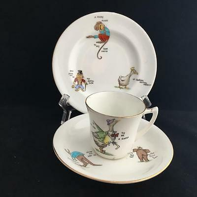 FOLEY QUAINT ANIMALS CHILDRENS SIZE CHINA TRIO 1930's NURSERY WARE