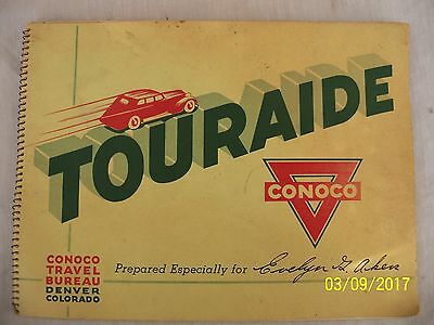 Vintage 1937 Conoco Touraide Travel Guide United States Map San Francisco Maine