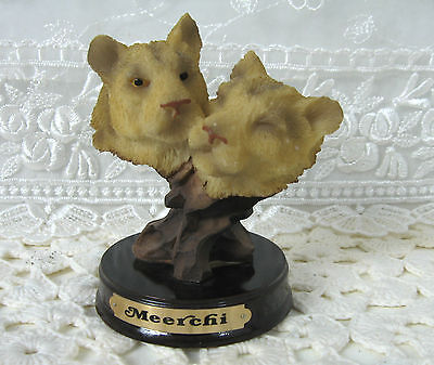 "Cougar Heads  Meerchi Vintage Resin Figurine 4"" high ** VGC **"