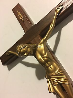 Antique Vintage Wall Church Wood Cross  Crucifix Jesus Religious Gold Tone