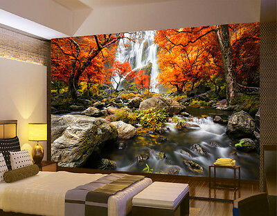 HQ Wall Mural Waterfall Forest Autumn Photo Wallpaper Decoration  Room Art 74