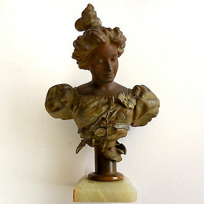 "11"" Antique French Art Nouveau Bust of Lady - Patinated Bronze Spelter"