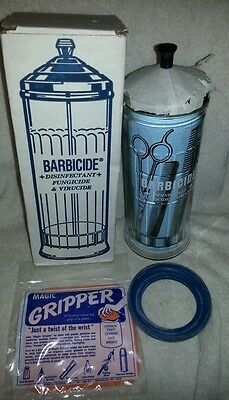 Vintage Barbicide Disinfectant Barbers Stylists Jar For Combs NOS Unused In Box