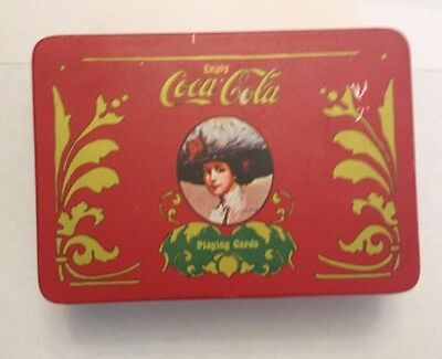 VINTAGE COCA COLA GAME SET in TIN BOX w/ Playing Cards, Dice, And Score Pad