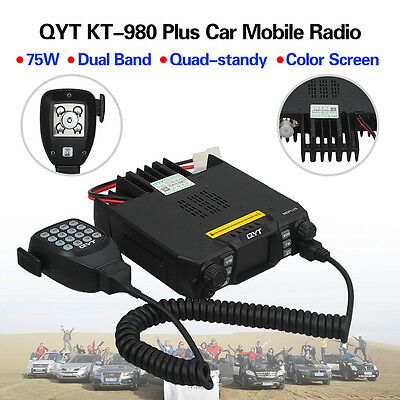 QYT KT-980 Plus Dual Band Quad-standy Car Mobile Radio+Microphone Display 5Tone