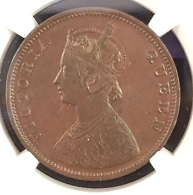 1862 M India 1/2 Anna S&w-4.159 Ngc Au50 Brown