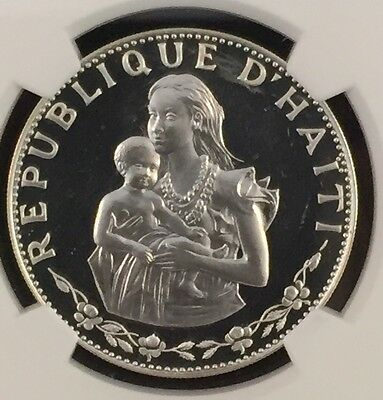 1973 Haiti Silver 50 Gourdes Woman W/ Infant Ngc Proof Pf66 Ultra Cameo