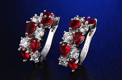 2 ct Created Ruby Hoop Earrings in Platinum-Plated Brass