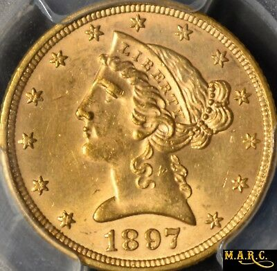 1897 MS64 PCGS 5$ Gold Liberty Half Eagle, Bright and Lustrous!! Free Shipping!