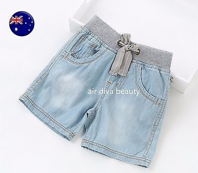 ZARA Kids Boys Children Summer Thin Blue Denim Jeans Capri Shorts Short Pants