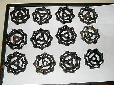 """Lot of 12  2"""" cast iron water valve handle handles for steampunk arts crafts"""