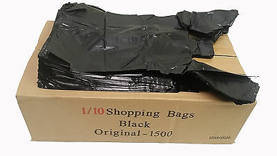 T-Shirt Black Plastic Bag 1/10 Retail Grocery Store Shopping Carry Out 1500ct