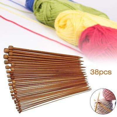 36Pcs 18 Size 1 Set Carbonized Bamboo Single Pointed Crochet Knitting Needles DB