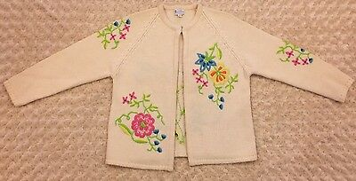 Vintage Women's Rosanna Virgin Wool Cardigan Sweater Hand Loomed Floral