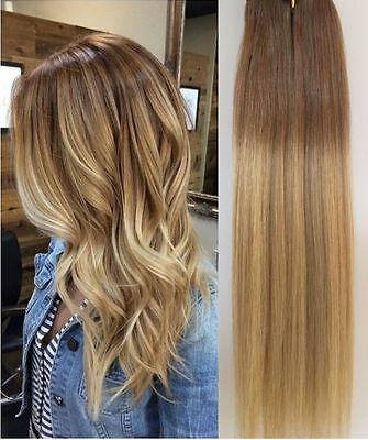 100% Real Clip in Human Hair Extensions Full Head Straight Ombre Two Tones